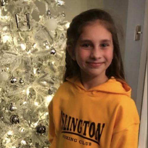 Lyla in a custom IBC hoodie