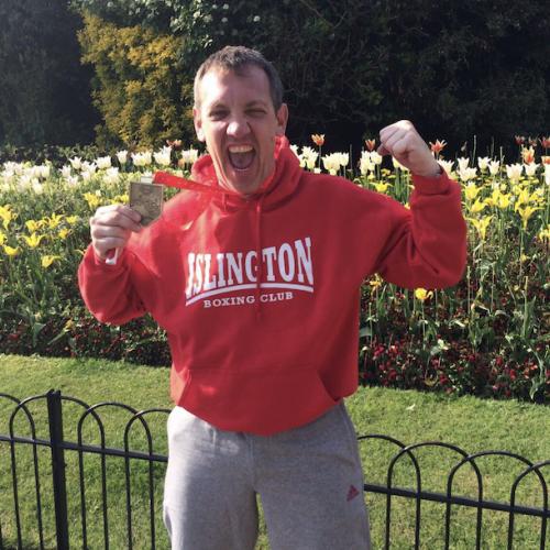 Jason Kinsella after completing the London Marathon
