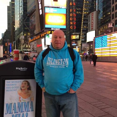Lenny Hagland in Time Square, New York