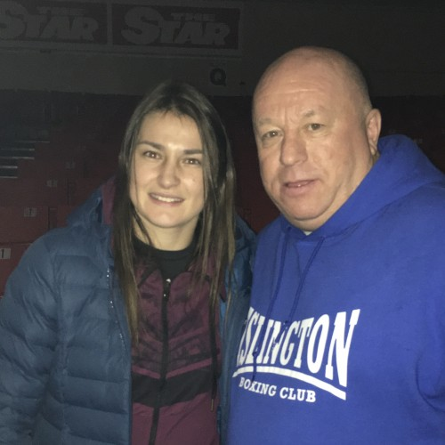 Lenny Hagland with Katie Taylor in Dublin (Irish Professional Boxer, WBA and IBF title holder)